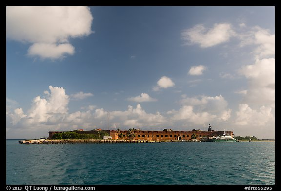 Garden Key and Fort Jefferson from water. Dry Tortugas National Park (color)