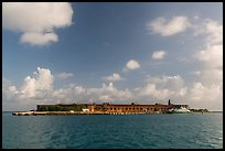 Garden Key and Fort Jefferson from water. Dry Tortugas National Park, Florida, USA. (color)