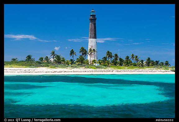Loggerhead Light and turquoise waters, Loggerhead Key. Dry Tortugas National Park (color)