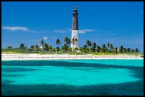 Loggerhead Light and turquoise waters, Loggerhead Key. Dry Tortugas National Park, Florida, USA. (color)