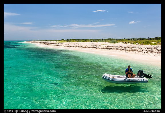 Dinghy on clear waters, Loggerhead Key. Dry Tortugas National Park (color)