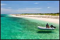 Dinghy on clear waters, Loggerhead Key. Dry Tortugas National Park, Florida, USA. (color)