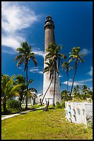 Palm trees, keeper house, and Loggerhead Light. Dry Tortugas National Park, Florida, USA. (color)