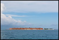 Fort Jefferson and Garden Key seen from the West. Dry Tortugas National Park, Florida, USA. (color)