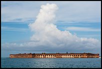Fort Jefferson and cloud seen from the West. Dry Tortugas National Park, Florida, USA. (color)