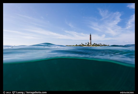 Split view of waters and Loggerhead Light. Dry Tortugas National Park (color)