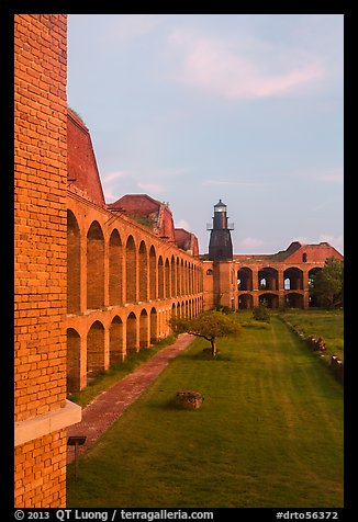 Fort Jefferson, harbor light, interior courtyard at sunset. Dry Tortugas National Park (color)
