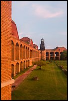 Fort Jefferson, harbor light, interior courtyard at sunset. Dry Tortugas National Park, Florida, USA. (color)