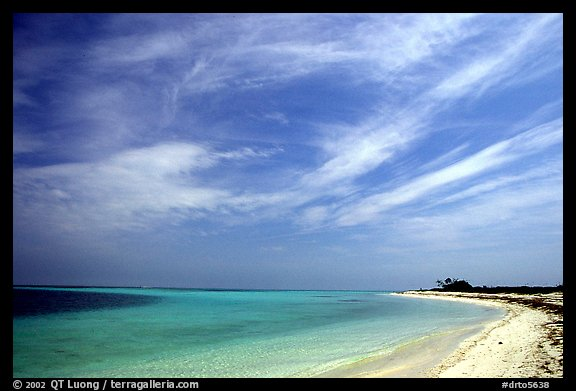 Sky, turquoise waters and beach on Bush Key. Dry Tortugas National Park, Florida, USA.