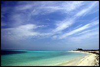 Sky, turquoise waters and beach on Bush Key. Dry Tortugas National Park, Florida, USA. (color)