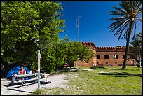 Camper. Dry Tortugas National Park, Florida, USA. (color)