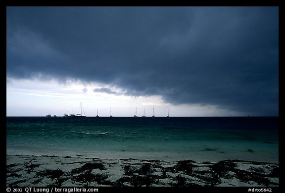 Approaching storm over Yachts at Tortugas anchorage. Dry Tortugas National Park (color)