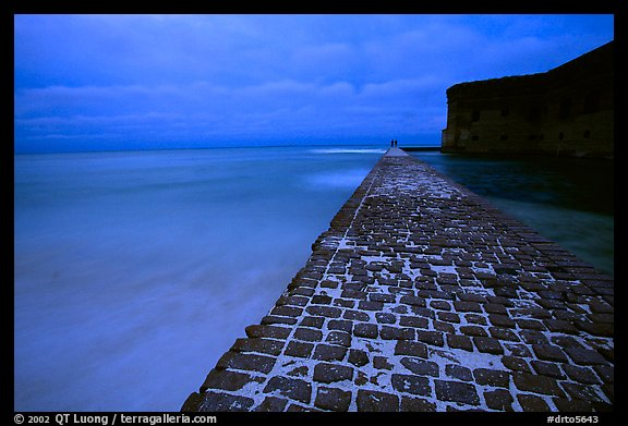 Brick seawall at dusk during a storm. Dry Tortugas National Park (color)