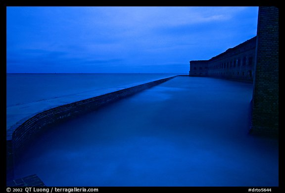 Seawall at dusk during  storm. Dry Tortugas National Park (color)