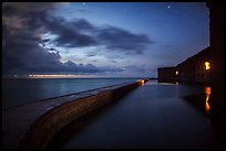 Fort Jefferson at dusk with stars. Dry Tortugas National Park, Florida, USA. (color)