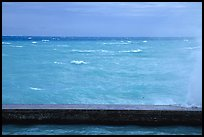 Seawall battered by surf on a stormy day. Dry Tortugas National Park, Florida, USA. (color)