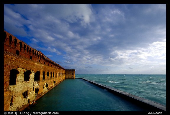 Fort Jefferson seawall and moat, late afternoon. Dry Tortugas National Park (color)