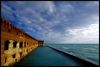 Fort Jefferson seawall and moat, late afternoon. Dry Tortugas National Park, Florida, USA. (color)