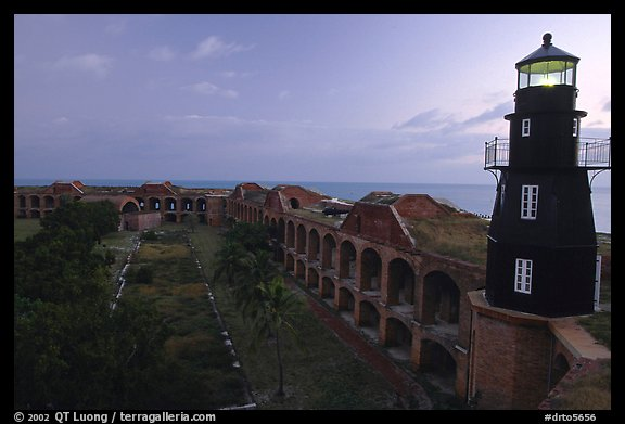 Fort Jefferson lighthouse and inner courtyard, dawn. Dry Tortugas National Park (color)