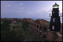 Fort Jefferson lighthouse and inner courtyard, dawn. Dry Tortugas National Park, Florida, USA.