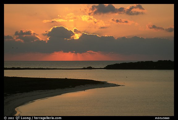 Sunrise over Long Key and Bush Key. Dry Tortugas National Park, Florida, USA.