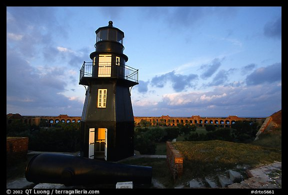 Fort Jefferson harbor light, sunrise. Dry Tortugas National Park, Florida, USA.