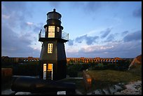 Fort Jefferson harbor light, sunrise. Dry Tortugas National Park, Florida, USA. (color)