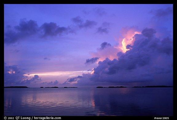 Clearing storm on Florida Bay seen from the Keys, sunset. Everglades National Park (color)
