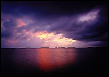 Storm clouds over Florida Bay at sunset. Everglades National Park, Florida, USA. (color)