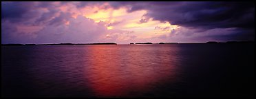 Stormy sunset over bay with low islets in background. Everglades  National Park (Panoramic color)