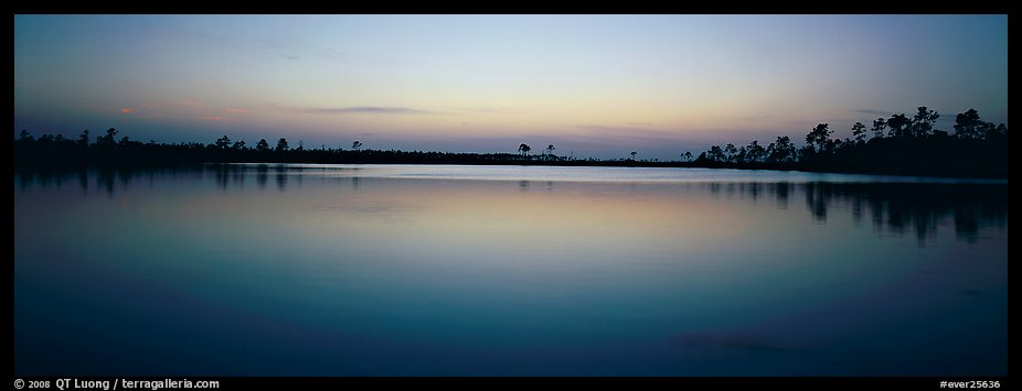 Lake with trees on horizon, dusk. Everglades National Park (color)