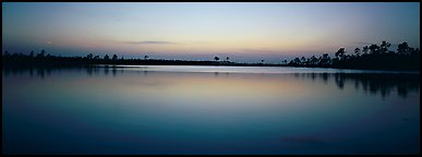 Lake with trees on horizon, dusk. Everglades National Park (Panoramic color)