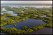 Aerial view of Ten Thousand Islands and Chokoloskee Bay. Everglades National Park, Florida, USA. (color)