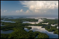 Aerial view of Ten Thousand Islands and Gulf of Mexico. Everglades National Park, Florida, USA. (color)