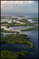 Aerial view of Ten Thousand Islands and coast. Everglades National Park, Florida, USA. (color)