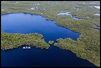 Aerial view of lake with elevated camping platforms (chickees). Everglades National Park, Florida, USA. (color)