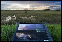Shark River Slough interpretative sign. Everglades National Park, Florida, USA. (color)
