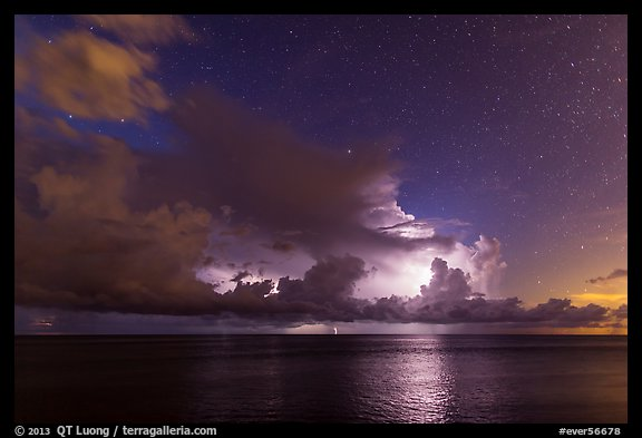 Lightening over Florida Bay seen from the Keys at night. Everglades National Park (color)