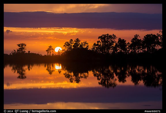 Sun setting, Pines Glades Lake. Everglades National Park (color)