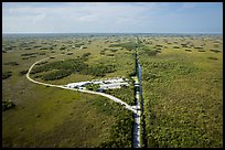 Aerial view of visitor center and loop road, Shark Valley. Everglades National Park ( color)
