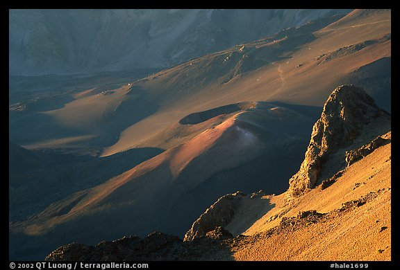 Haleakala crater from Kalahaku at sunrise. Haleakala National Park, Hawaii, USA.
