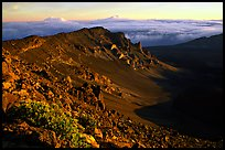 Haleakala crater from White Hill at sunrise. Haleakala National Park, Hawaii, USA. (color)