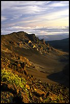 Crater rim and clouds  at sunrise. Haleakala National Park, Hawaii, USA.