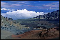 Clouds and Haleakala crater. Haleakala National Park, Hawaii, USA.
