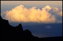 Clouds and Haleakala crater, evening. Haleakala National Park, Hawaii, USA.