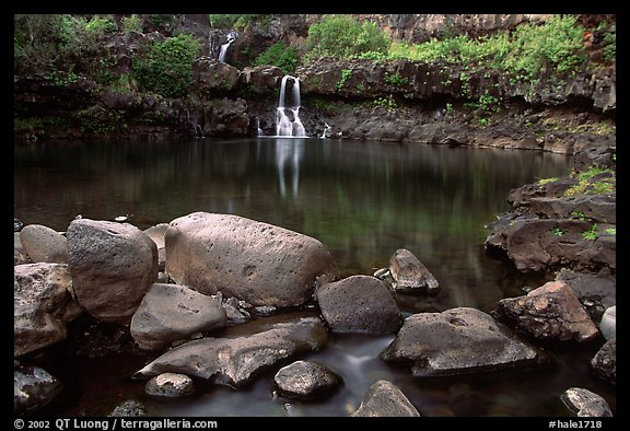 Waterfall in Ohe o gorge, evening. Haleakala National Park (color)