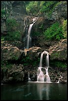 Waterfall in Ohe o gorge, evening. Haleakala National Park, Hawaii, USA.