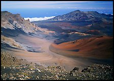 View of Haleakala crater from White Hill with multi-colored cinder. Haleakala National Park, Hawaii, USA.