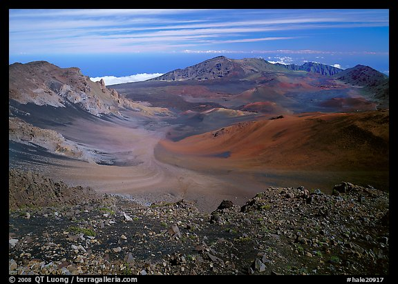 Colorful cinder in Haleakala crater seen from White Hill. Haleakala National Park (color)