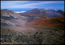 Colorful cinder in Haleakala crater seen from White Hill. Haleakala National Park, Hawaii, USA.